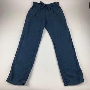 Anthro Touche Balneaire Navy Linen Pants XL